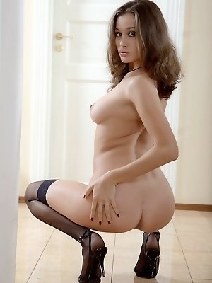"""Beuatiful brunette in sheer white lingerie, hold up stockings and high heels."" pics ~ hot-pussy.cc"