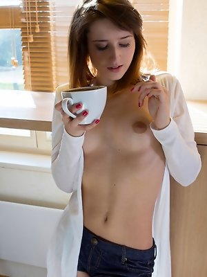 Mina A enjoys her morning brew before proceeding to tease and masturbate in the kitchen pics ~ hot-pussy.cc